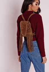 Missguided Side Tassel Mini Suede Rucksack Tan Brown