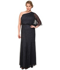 Adrianna Papell Plus Size One Shoulder Bead Blouuson Gown Charcoal Women's Dress Black
