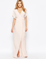 Love Plunge Tie Front Split Maxi Dress Nude Pink