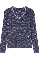 Maje Metallic Open Knit Sweater Midnight Blue