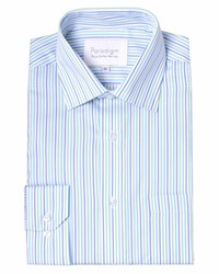 Double Two Stripe Classic Fit Classic Collar Formal Shirt Green