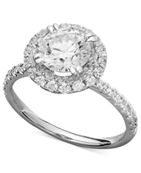 Arabella 14K White Gold Ring Swarovski Zirconia Round Pave Engagement Ring 3 1 2 Ct. T.W. Clear