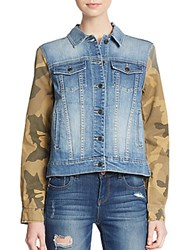 Joe's Jeans Camo Print Paneled Denim Jacket Jaide