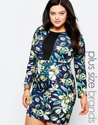 Praslin Plus Pencil Dress In Floral Print With Contrast Insert Floral