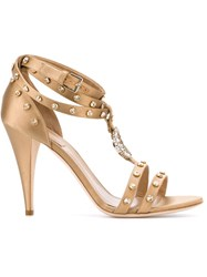 Alberta Ferretti Crystal Embellished Sandals Nude And Neutrals