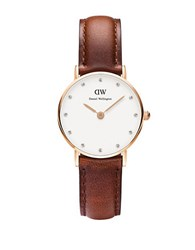 Daniel Wellington Classy St Mawes Rose Goldtone Brown Leather Strap Watch 26Mm