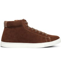 Kg By Kurt Geiger Finley Mid Top Suede Trainers Tan