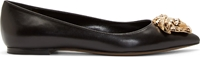 Versace Black Leather Medusa Head Flats