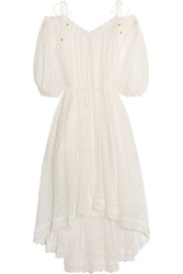 Zimmermann Realm Lace Trimmed Fil Coupe Silk Georgette Midi Dress White