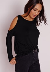 Missguided Cold Shoulder Tunic Top Black Black