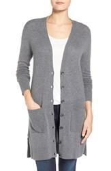 Petite Women's Halogen Wool And Cashmere Long V Neck Cardigan Heather Dark Grey