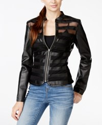Inc International Concepts Illusion Striped Faux Leather Jacket Only At Macy's