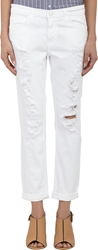 Current Elliott Distressed The Fling Jeans White
