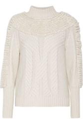 Temperley London Nell Cable Knit Wool Blend Turtleneck Sweater White