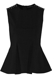 Belstaff Osborne Studded Stretch Jersey Peplum Top Black
