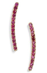 Bony Levy Women's Pave Precious Stone Curved Bar Earrings Nordstrom Exclusive Yellow Gold Ruby