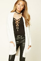Forever 21 Fuzzy Knit Open Front Cardigan