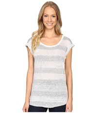 Dylan By True Grit Pale Hue Stripes Linen And Cotton Slouchy Knit Tee White Women's T Shirt