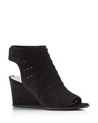 Via Spiga Leatrice Open Toe Wedge Booties Black
