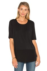 Heather Silk Round Hem Top Black