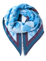 Alexander Mcqueen Skull And Striped Print Scarf Blue