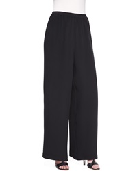 Eskandar Flared Silk Trousers Black