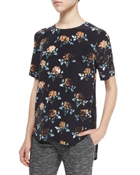Thakoon Rose Print Lace Inset Top Blue Multi