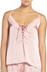 Band Of Gypsies Women's Lace Neck Satin Camisole Pale Pink
