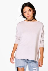 Boohoo Oversized Fine Gauge Jumper With Pockets Cream