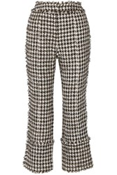 Erdem Verity Metallic Cotton Blend Tweed Straight Leg Pants Black