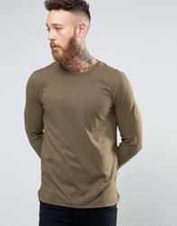 Selected Homme Longline Long Sleeve Top With Pocket Beech Green