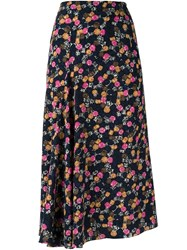 Victoria Beckham 'Jewelry' Print High Waisted Skirt Blue