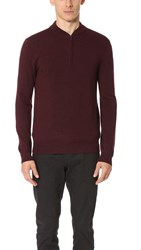 Club Monaco Merino Quarter Zip Sweater Carmine Melange