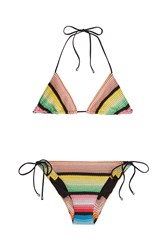 Missoni Mare Crochet Knit Triangle Bikini Multicolor