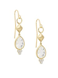 Jude Frances Diamonds Topaz And 18K Yellow Gold Drop Earrings