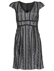 Chase 7 Structured Floral Lace Dress Black