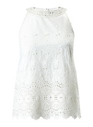 Miss Selfridge Ivory Embroidered Shell Top White
