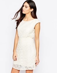 Pussycat London Lace Dress With Flutter Sleeves Cream