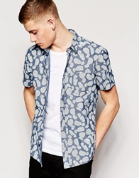 Bellfield Short Sleeve Chambray Shirt With Pineapple Print Chambrayblue