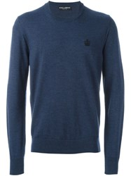 Dolce And Gabbana Embroidered Crown Jumper Blue