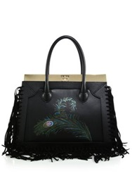 Dee Ocleppo Roma Large Convertible Fringed Peacock Leather And Suede Tote Black