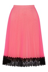 Christopher Kane Lace Trimmed Neon Tulle Skirt Pink