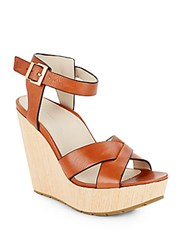Kenneth Cole Clove Leather And Wood Platform Wedge Sandals Medium Brown