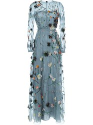 Valentino Floral Embroidered Evening Dress Blue