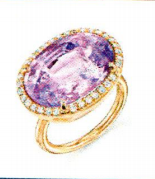Irene Neuwirth One Of A Kind 18K Rose Gold Ring Set With Un Heated Pink Sapphire 18.6Cts And Diamond Pave 0.4Cts Purple