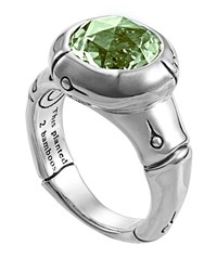 John Hardy Bamboo Small Round Green Amethyst Ring Size 7