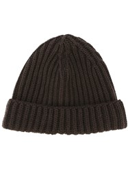 Zanone Ribbed Beanie Brown
