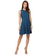 Adelyn Rae Woven Lace Fit And Flare Dress Teal Women's Dress Blue