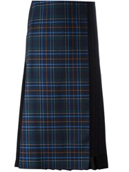 Cedric Charlier Pleat Back Plaid Skirt Black