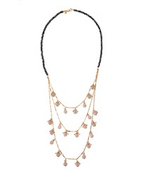 Lydell Nyc Triple Row Bubble Bead Necklace Grey